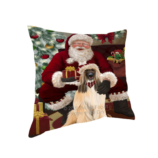 Santa's Christmas Surprise Afghan Hound Dog Pillow PIL87040