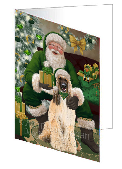 Christmas Irish Santa with Gift and Afghan Hound Dog Note Card NCD75743