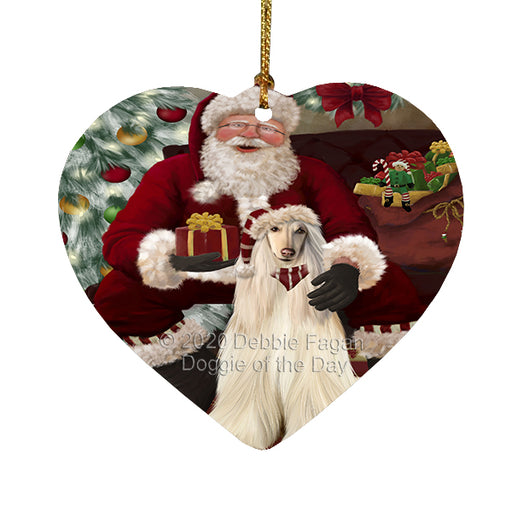 Santa's Christmas Surprise Afghan Hound Dog Heart Christmas Ornament RFPOR58332