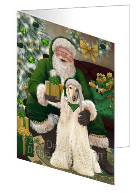 Christmas Irish Santa with Gift and Afghan Hound Dog Note Card NCD75746