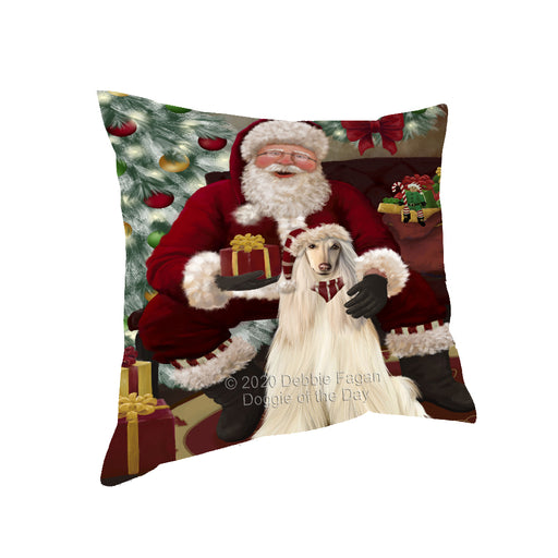 Santa's Christmas Surprise Afghan Hound Dog Pillow PIL87044