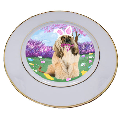 Easter Holiday Afghan Hound Dog Porcelain Plate PLT55248