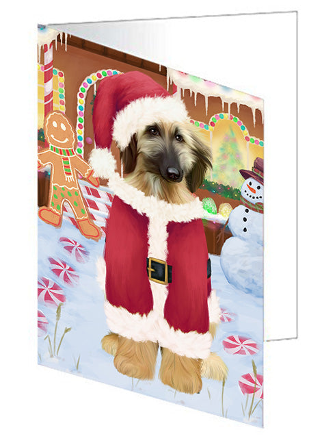 Christmas Gingerbread House Candyfest Afghan Hound Dog Note Card NCD72866