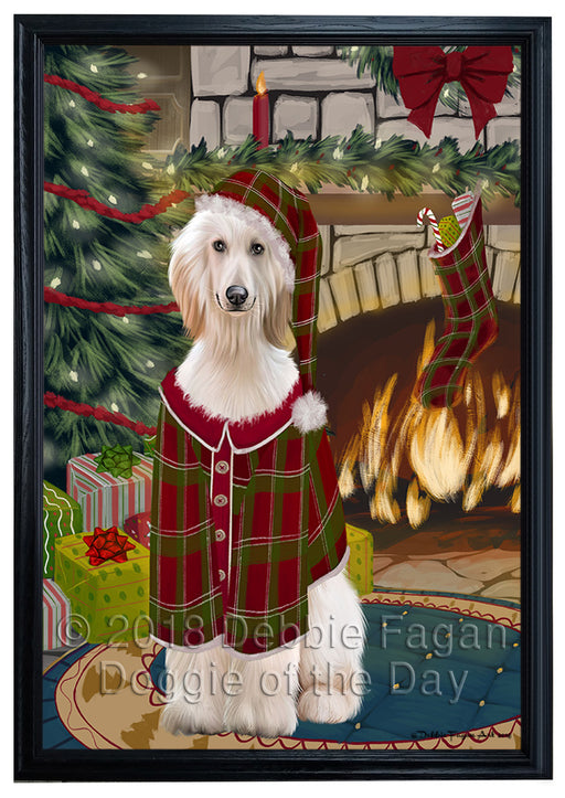 The Stocking was Hung Afghan Hound Dog Framed Canvas Print Wall Art FCVS174497