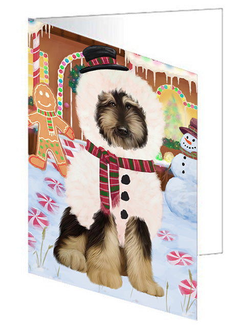Christmas Gingerbread House Candyfest Afghan Hound Dog Note Card NCD72869