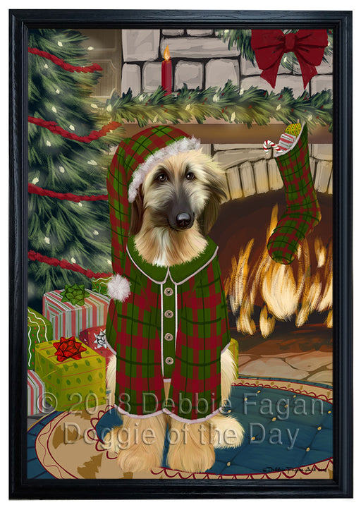 The Stocking was Hung Afghan Hound Dog Framed Canvas Print Wall Art FCVS174514