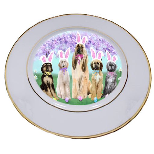 Easter Holiday Afghan Hounds Dog Porcelain Plate PLT55249