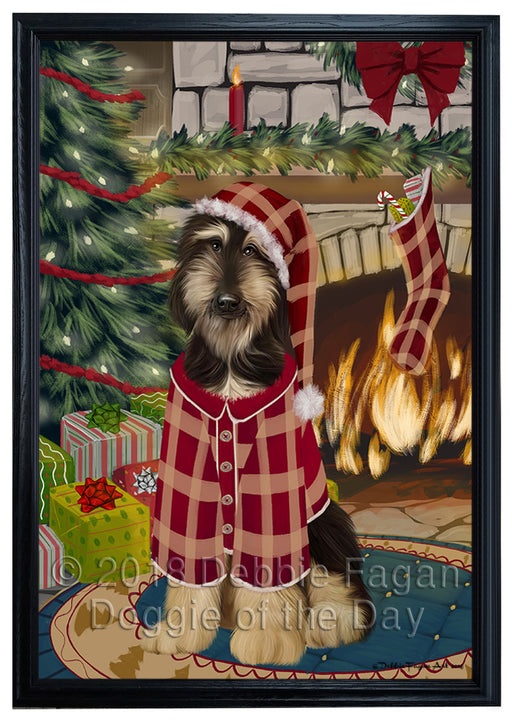 The Stocking was Hung Afghan Hound Dog Framed Canvas Print Wall Art FCVS174531