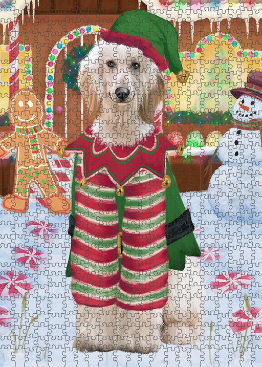 Christmas Gingerbread House Candyfest Afghan Hound Dog Puzzle with Photo Tin PUZL92680