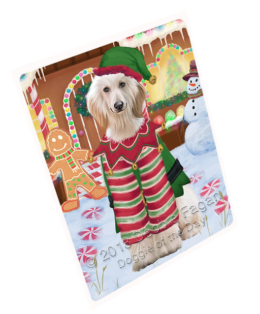 Christmas Gingerbread House Candyfest Afghan Hound Dog Large Refrigerator / Dishwasher Magnet RMAG98988