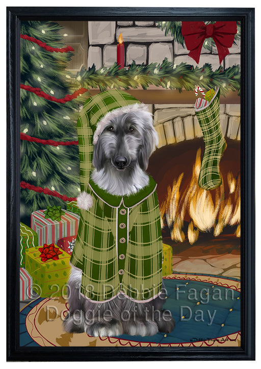 The Stocking was Hung Afghan Hound Dog Framed Canvas Print Wall Art FCVS174548