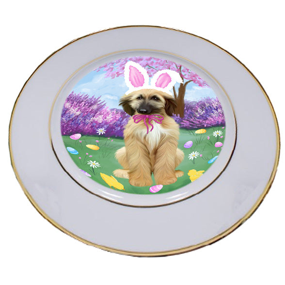 Easter Holiday Afghan Hound Dog Porcelain Plate PLT55251