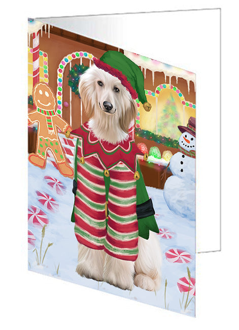 Christmas Gingerbread House Candyfest Afghan Hound Dog Note Card NCD72875