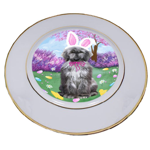 Easter Holiday Afghan Hound Dog Porcelain Plate PLT55252