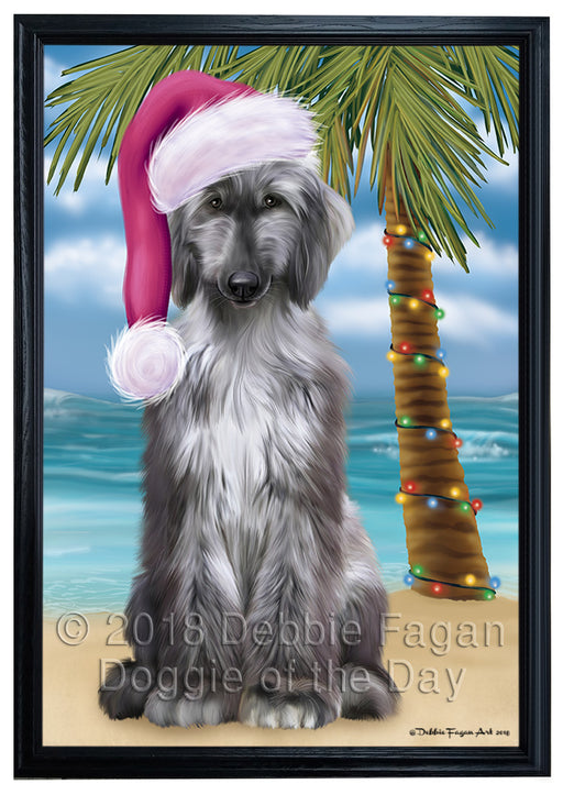 Summertime Happy Holidays Christmas Afghan Hound Dog on Tropical Island Beach Framed Canvas Print Wall Art FCVS158891