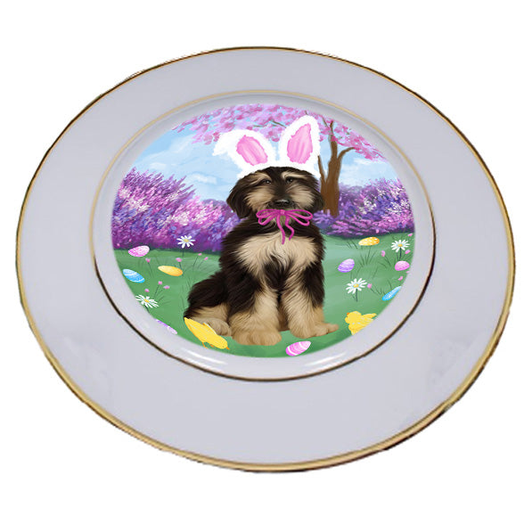 Easter Holiday Afghan Hound Dog Porcelain Plate PLT55253