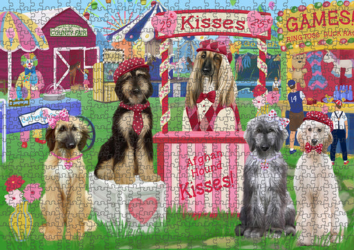 Carnival Kissing Booth Afghan Hounds Dog Puzzle with Photo Tin PUZL91280