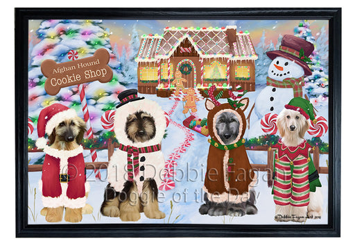 Holiday Gingerbread Cookie Shop Afghan Hounds Dog Framed Canvas Print Wall Art FCVS190579