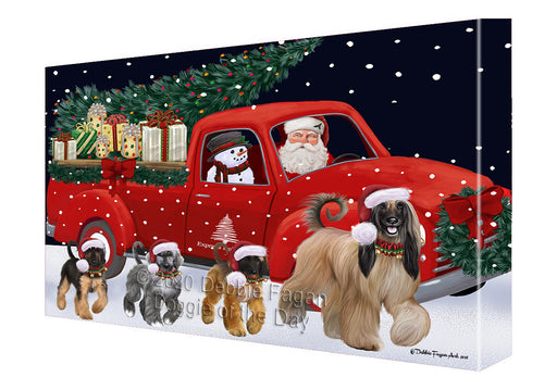 Christmas Express Delivery Red Truck Running Afghan Hound Dogs Canvas Print Wall Art Décor CVS145772