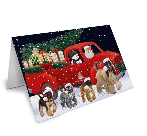 Christmas Express Delivery Red Truck Running Afghan Hound Dogs Greeting Card GCD75032