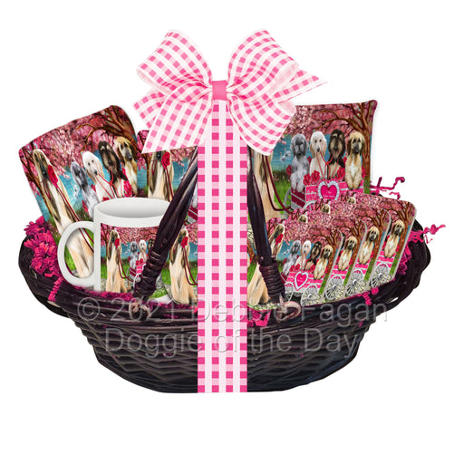 Mother's Day Gift Basket Afghan Hound Dogs Blanket, Pillow, Coasters, Magnet, Coffee Mug and Ornament