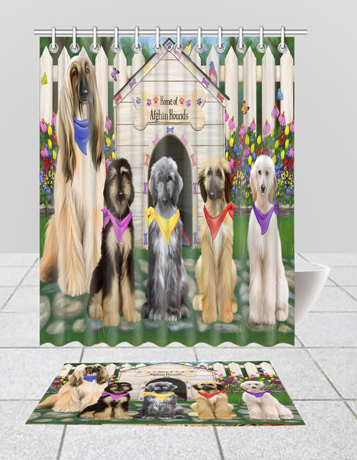 Spring Dog House Afghan Hound Dogs Bath Mat and Shower Curtain Combo