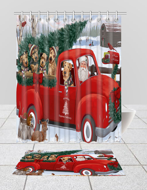 Christmas Santa Express Delivery Red Truck Airedale Dogs Bath Mat and Shower Curtain Combo