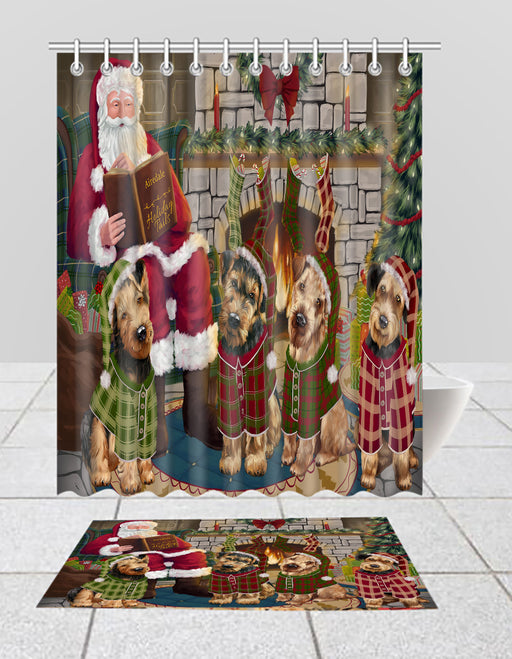 Christmas Cozy Holiday Fire Tails Airedale Dogs Bath Mat and Shower Curtain Combo