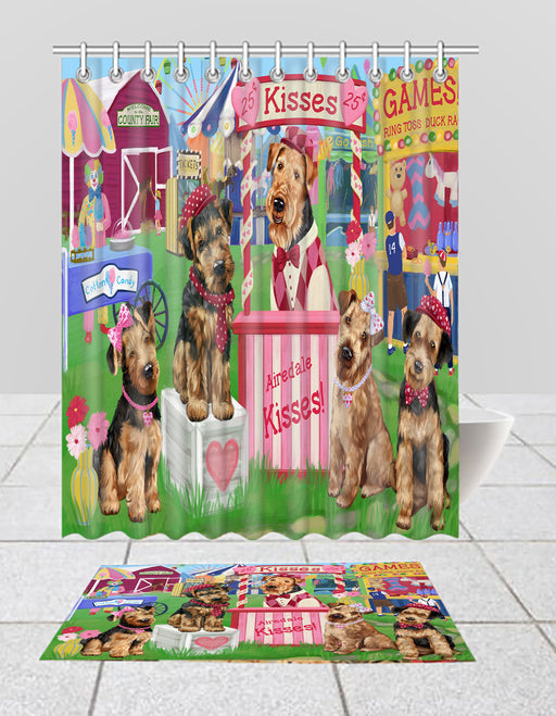 Carnival Kissing Booth Airedale Dogs  Bath Mat and Shower Curtain Combo