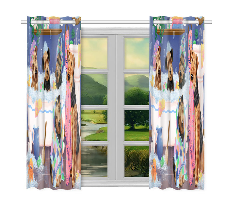 Rub A Dub Dogs In A Tub Airedale Dogs Window Curtain