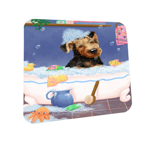 Rub A Dub Dog In A Tub Airedale Dog Coasters Set of 4 CST57241