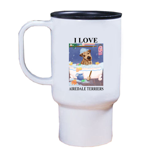 Rub A Dub Dog In A Tub Airedale Dog Travel Mug TRAV52517