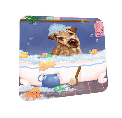 Rub A Dub Dog In A Tub Airedale Dog Coasters Set of 4 CST57240