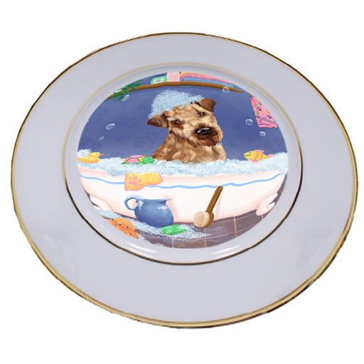Rub A Dub Dog In A Tub Airedale Dog Porcelain Plate PLT57330