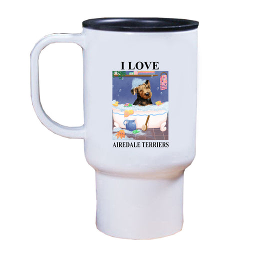 Rub A Dub Dog In A Tub Airedale Dog Travel Mug TRAV52518