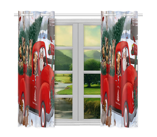 Christmas Santa Express Delivery Red Truck Airedale Dogs Window Curtain