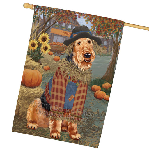 Halloween Round Town And Fall Pumpking Scarecrow Both Airedale Dogs Garden Flag GFLG65618