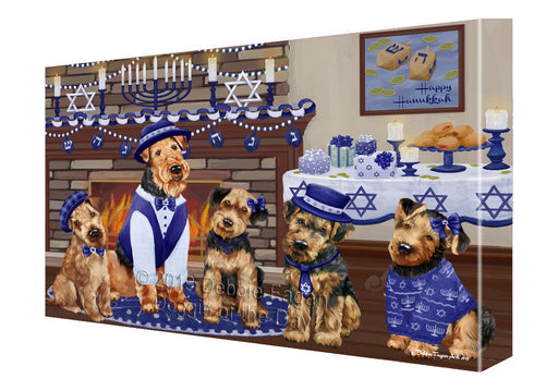 Happy Hanukkah Family and Happy Hanukkah Both Airedale Dogs Canvas Print Wall Art Décor CVS140804