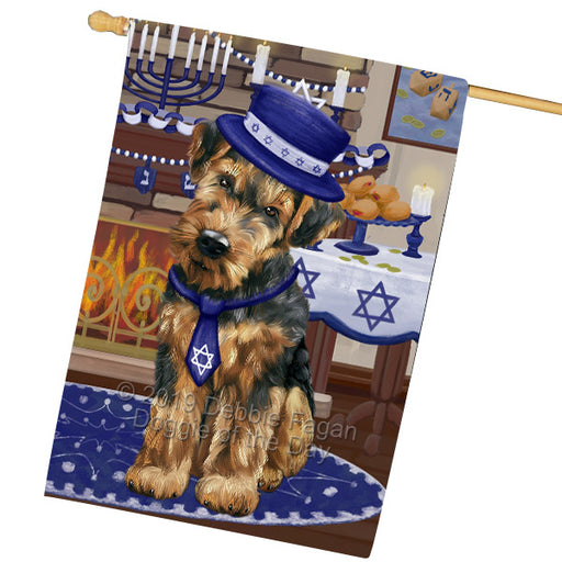 Happy Hanukkah Family and Happy Hanukkah Both Airedale Dog Garden Flag GFLG65679