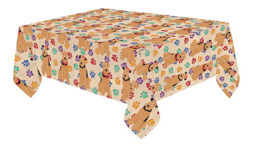 Rainbow Paw Print Airedale Dogs Red Cotton Linen Tablecloth