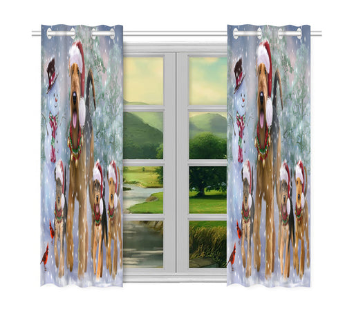 Christmas Running Fammily Airedale Terrier Dogs Window Curtain