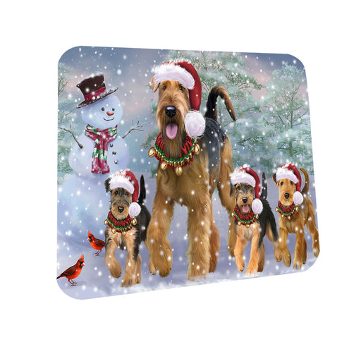 Christmas Running Family Airedale Terrier Dogs Coasters Set of 4 CST57081