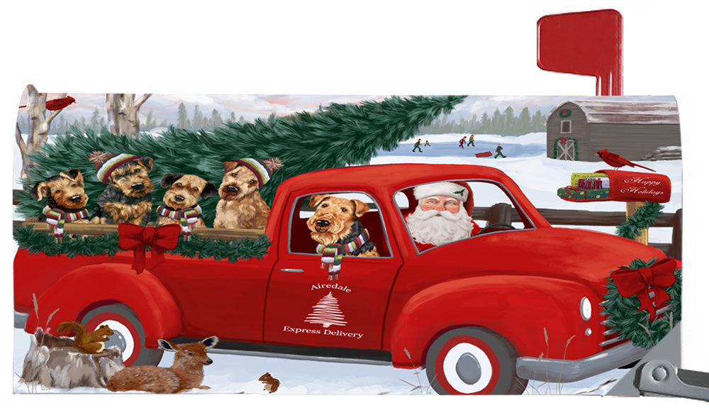 Magnetic Mailbox Cover Christmas Santa Express Delivery Airedale Terriers Dog MBC48280