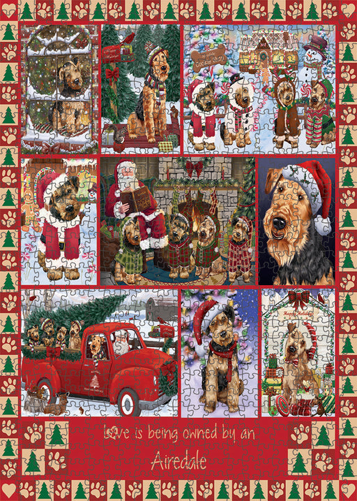 Love is Being Owned Christmas Airedale Terrier Dogs Puzzle with Photo Tin PUZL99220