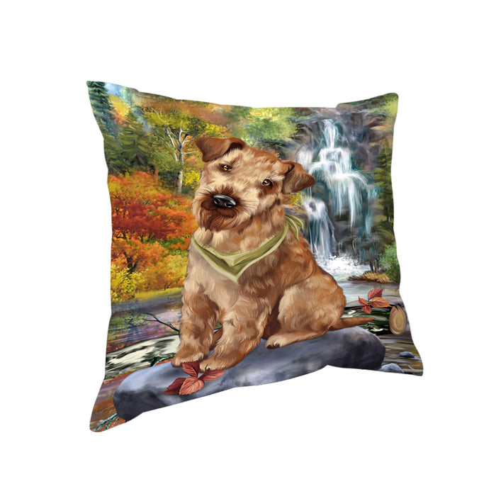 Scenic Waterfall Airedale Terrier Dog Pillow PIL56636