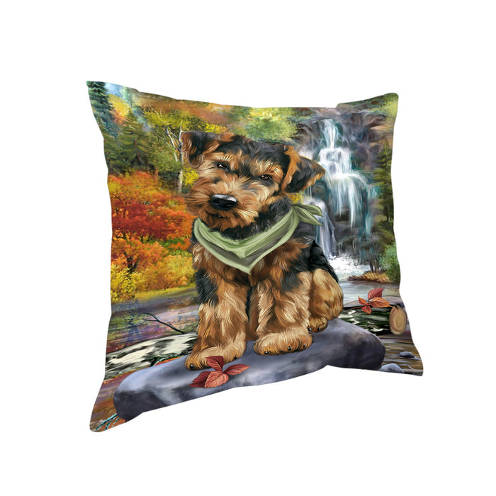 Scenic Waterfall Airedale Terrier Dog Pillow PIL56644