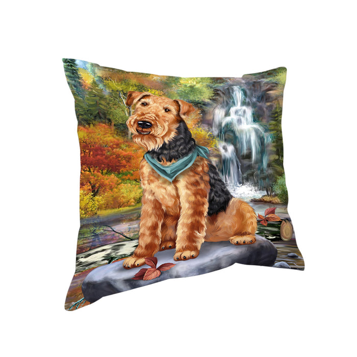 Scenic Waterfall Airedale Terrier Dog Pillow PIL56648