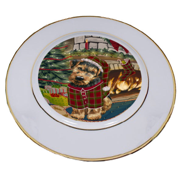 The Stocking was Hung Airedale Terrier Dog Porcelain Plate PLT53497