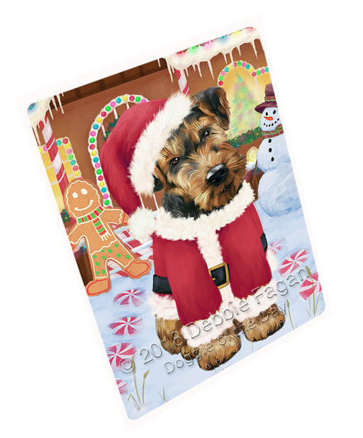 Christmas Gingerbread House Candyfest Airedale Terrier Dog Large Refrigerator / Dishwasher Magnet RMAG98994
