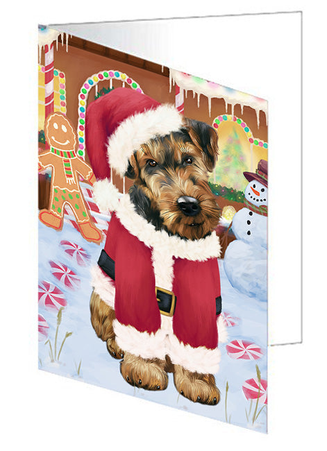 Christmas Gingerbread House Candyfest Airedale Terrier Dog Note Card NCD72878